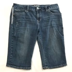 Warehouse One Distressed Jean Shorts With Design